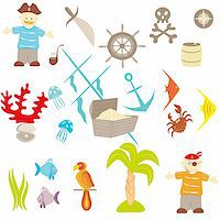 Set of drawings on a theme pirates Stock Photo - Royalty-Freenull, Code: 400-06102922