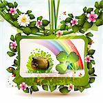St. Patrick's Day card design with clover and coins Stock Photo - Royalty-Free, Artist: Merlinul                      , Code: 400-06103273