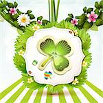 St. Patrick's Day card design with clover Stock Photo - Royalty-Free, Artist: Merlinul                      , Code: 400-06103274
