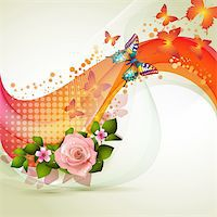 Colorful background with flowers Stock Photo - Royalty-Freenull, Code: 400-06103276