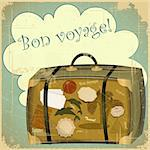 Retro summer postcard - travel suitcase - vector illustration Stock Photo - Royalty-Free, Artist: elfivetrov                    , Code: 400-06103848