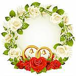 Vector frame with white and red rose and golden wedding rings