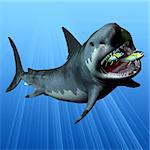 The Megalodon was the most powerful predator in the seas of the Cenozoic Era of Earth's history. Here he devours two swift swimming tuna in one large gulp. This shark was 16 metres or 52 feet long and its teeth remain in fossil beds. Stock Photo - Royalty-Free, Artist: Catmando                      , Code: 400-06104367