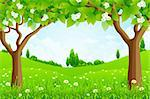 Green Background with Trees Flowers and Hills Stock Photo - Royalty-Free, Artist: WaD                           , Code: 400-06105323
