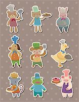 animal chef stickers Stock Photo - Royalty-Freenull, Code: 400-06105476