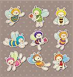 cartoon bee boy stickers Stock Photo - Royalty-Free, Artist: notkoo2008                    , Code: 400-06105480