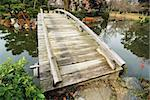 scenic wooden bridge in Japanese garden at early autumn; focus on front side Stock Photo - Royalty-Free, Artist: yuriz                         , Code: 400-06105485