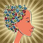 Girl with color curls hair, vector cartoon. Stock Photo - Royalty-Free, Artist: Sylverarts                    , Code: 400-06105987