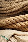 Natural jute rope detail macro shot on a cloth Stock Photo - Royalty-Free, Artist: gorgev                        , Code: 400-06106317