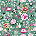 Seamless floral pattern on a green background Stock Photo - Royalty-Free, Artist: tanor                         , Code: 400-06106394