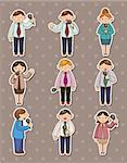 set of reporter people stickers Stock Photo - Royalty-Free, Artist: notkoo2008                    , Code: 400-06106438