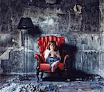 little girl sitting in  grunge interior (Photo and hand-drawing elements combined) Stock Photo - Royalty-Free, Artist: vicnt                         , Code: 400-06109137