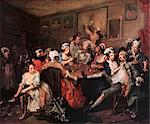 1700s THE ORGY FROM RAKE'S PROGRESS PAINTING BY WILLIAM HOGARTH 1732 Stock Photo - Premium Rights-Managed, Artist: ClassicStock, Code: 846-06112053
