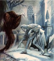 SCENE FROM CHARLES DICKENS CHRISTMAS CAROL EBENEZER SCROOGE WITH GHOST OOF CHRISTMAS FUTURE AT CEMETERY GRAVE Stock Photo - Premium Rights-Managednull, Code: 846-06112067