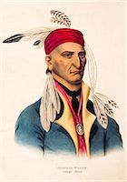 1800s PORTRAIT OF CHIPPEWA CHIEF IMAGE STONE OR SHINGABA W'OSSIN SIDED WITH THE BRITISH IN WAR OF 1812 Stock Photo - Premium Rights-Managednull, Code: 846-06112074
