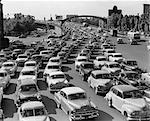 1950s HEAVY TRAFFIC BEN FRANKLIN BRIDGE PHILADELPHIA PA