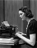 secretary desk - 1930s WOMAN TYPING ON UNDERWOOD TYPEWRITER Stock Photo - Premium Rights-Managednull, Code: 846-06112225