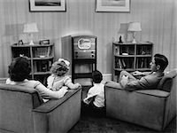 1940s 1950s FAMILY WATCHING TV IN LIVING ROOM Stock Photo - Premium Rights-Managednull, Code: 846-06112357