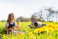 dogs in nature - Girl blowing bubbles with dog in field Stock Photo - Premium Royalty-Freenull, Code: 649-06112835