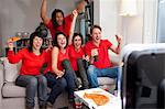 Friends watching sports on television Stock Photo - Premium Royalty-Free, Artist: Cultura RM, Code: 649-06112971