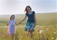 scenic and spring (season) - Mother and daughter walking in field Stock Photo - Premium Royalty-Freenull, Code: 649-06113750