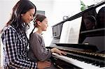 Mother and daughter sitting at piano Stock Photo - Premium Royalty-Free, Artist: Blend Images, Code: 649-06113843