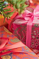 present wrapped close up - Festively wrapped Christmas gifts, close-up Stock Photo - Premium Royalty-Freenull, Code: 632-06118895
