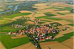 Aerial View of Village, Neuses a Berg, Dettelbach, Bavaria, Germany