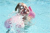 Little Girl Wearing Water Wings in Swimming Pool Stock Photo - Premium Rights-Managednull, Code: 700-06119649