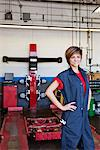 Happy young female mechanic with hands on hips in automobile repair shop Stock Photo - Premium Royalty-Free, Artist: Blend Images, Code: 693-06120954