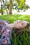 Woman Lying on Grass, Miami Beach, Florida, USA Stock Photo - Premium Royalty-Free, Artist: Raoul Minsart, Code: 600-06125457