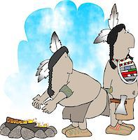 This illustration depicts two native American Indians by a campfire. Stock Photo - Royalty-Freenull, Code: 400-06129936