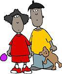 This illustration depicts a small boy and girl. Stock Photo - Royalty-Free, Artist: caraman                       , Code: 400-06129943