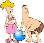 This illustration depicts a man and woman in swimwear with a beach ball. Stock Photo - Royalty-Free, Artist: caraman                       , Code: 400-06129946