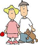 This illustration depicts a small boy and girl. Stock Photo - Royalty-Free, Artist: caraman                       , Code: 400-06129951