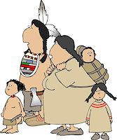 This illustration depicts a native American Indian family. Stock Photo - Royalty-Freenull, Code: 400-06130105
