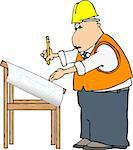 This illustration depicts a man in a hard hat and safety vest looking at blueprints on a drafting table. Stock Photo - Royalty-Free, Artist: caraman                       , Code: 400-06130481