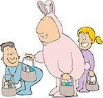 This illustration depicts a man in an Easter bunny costume giving baskets of eggs to children. Stock Photo - Royalty-Free, Artist: caraman                       , Code: 400-06130842