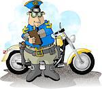 This illustration depicts a policeman standing next to his service motorcycle. Stock Photo - Royalty-Free, Artist: caraman                       , Code: 400-06131405