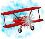 This illustration depicts a man flying a red bi-plane. Stock Photo - Royalty-Free, Artist: caraman                       , Code: 400-06131408
