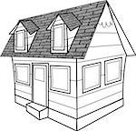 This illustration depicts a line drawing house. Stock Photo - Royalty-Free, Artist: caraman                       , Code: 400-06132195