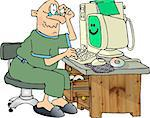 This illustration depicts a man having problems with his computer. Stock Photo - Royalty-Free, Artist: caraman                       , Code: 400-06132275