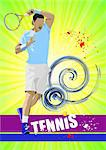 Tennis player poster. Colored Vector illustration for designers Stock Photo - Royalty-Free, Artist: leonido                       , Code: 400-06136146