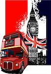 Grunge banner with London and bus images. Vector illustration Stock Photo - Royalty-Free, Artist: leonido                       , Code: 400-06136151
