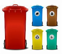 illustration recycling bins with different colors and symbols Stock Photo - Royalty-Freenull, Code: 400-06136226