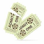 Two Cinema Tickets (Torn and Intact) with Tape Reel, vector illustration Stock Photo - Royalty-Free, Artist: TAlex                         , Code: 400-06136350