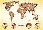 Doodle style world map with 4 views of the globe and compass Stock Photo - Royalty-Free, Artist: CarpathianPrince              , Code: 400-06136461