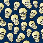 A seamless pattern of cartoon skulls with wide eyes and a dark blue background. Stock Photo - Royalty-Free, Artist: JSlavy                        , Code: 400-06137250