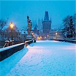 Charles bridge in winter, Prague, Czech Republic Stock Photo - Royalty-Free, Artist: phbcz                         , Code: 400-06137965