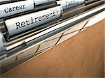 folder with retirement word and at the background another one where it's written career, blur effect brown paper, room for text Stock Photo - Royalty-Free, Artist: olivier26                     , Code: 400-06139429